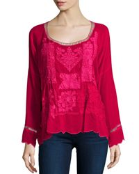 Johnny Was | Red Puzzle Scalloped Georgette Top | Lyst