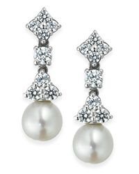 Arabella | Metallic Bridal Cultured Freshwater Pearl (7mm) And Swarovski Zirconia (1-5/8 Ct. T.w.) Drop Earrings In Sterling Silver | Lyst