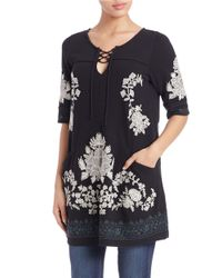 Free People | Black Tunic With Floral Embroidary | Lyst