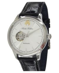 Brooks Brothers | Black 'core - Open Heart' Leather Strap Watch for Men | Lyst