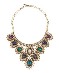 Deepa Gurnani | Green Crystal Draped Flower Bib Necklace | Lyst
