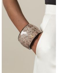 Giorgio Armani - Brown Rigid Animal Print Cuff - Lyst