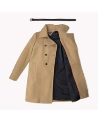 Tommy Hilfiger | Natural Wool Blend Double Breasted Coat | Lyst
