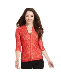 Karen Kane | Red Three-quarter-sleeve Lace Top | Lyst