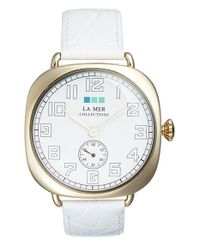 La Mer Collections - White Cushion Case Leather Strap Watch - Lyst
