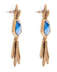 Oscar de la Renta - Blue Gold-plated Tanzanite Wildflower Drop Earrings - Lyst