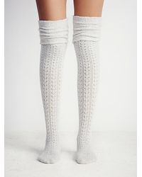 Free People | Gray Womens Blanket Ii Pointelle Sock | Lyst