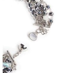 Assad Mounser | Metallic Teardrop Crystal Pendant Multi Chain Necklace | Lyst