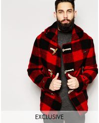 Gloverall - Red Cropped Duffle Coat In Buffalo Plaid - Exclusive for Men - Lyst