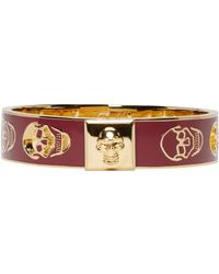 Alexander McQueen | Red Burgundy And Gold Cut_out Enamel Bracelet | Lyst