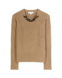 Burberry - Natural Embellished Wool And Cashmere Sweater - Lyst
