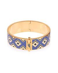 Diane von Furstenberg - Blue Gold-Plated Square-Print Bracelet - Lyst