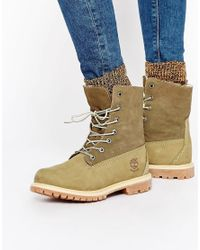 Timberland - Brown Authentics Teddy Fleece Lace Up Flat Boots - Lyst