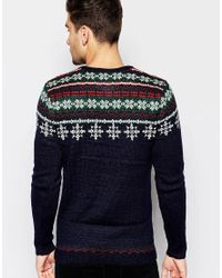 ASOS - Blue Christmas Jumper With Snowflake Fairisle for Men - Lyst