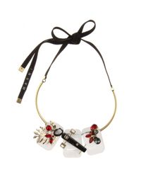Marni - Black Crystal And Horn-embellished Necklace - Lyst