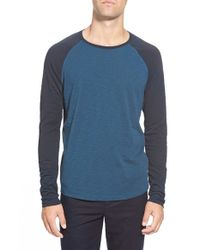 Vince | Blue Raglan Long Sleeve Baseball T-shirt for Men | Lyst