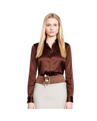 Ralph Lauren Black Label | Brown Rachel Stretch-silk Shirt | Lyst