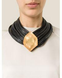 Monies - Black Multi Straps Stone Necklace - Lyst