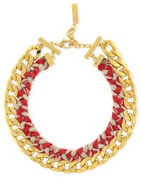 Vince Camuto - Red Gold-Tone Woven Neon Drama Collar Necklace - Lyst