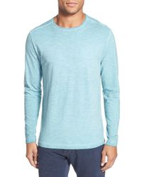 Agave | Blue 'victor' Long Sleeve Slub Pullover for Men | Lyst