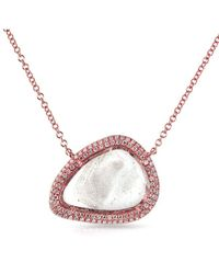 Anne Sisteron | Pink 14kt Rose Gold Diamond Slice Organic Shape Necklace | Lyst