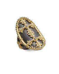 Armenta - Metallic Old World Black Diamond, White Diamond, Oxidized Sterling Silver & 18k Yellow Gold Cross Ring - Lyst