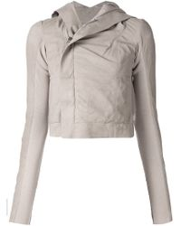 Rick Owens - Gray Hooded Lambskin, Wool and Cotton Jacket - Lyst