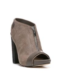 Fergie | Gray Rowley Leather Slingback Ankle Boots | Lyst