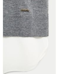 Violeta by Mango | Gray Contrast Hem Sweater | Lyst