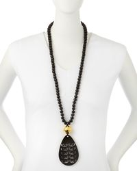 Nest | Black Tiger's Eye Necklace With Horn Pendant | Lyst