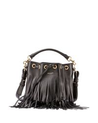 Saint Laurent | Black Emmanuelle Fringed Leather Bucket Bag | Lyst