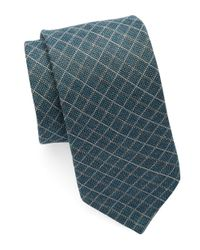 Michael Kors | Blue Diamond Plaid Cotton Blend Tie for Men | Lyst