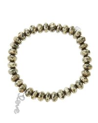 Sydney Evan - Metallic 8Mm Faceted Champagne Pyrite Beaded Bracelet With 14K White Gold/Diamond Love Charm (Made To Order) - Lyst