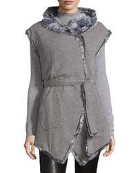 Gorski - Gray Goat-fur Hooded Vest W/cashmere-blend Reverse - Lyst