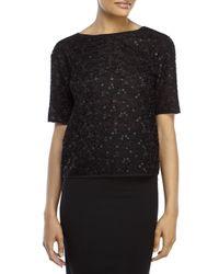 Les Copains - Black Embellished Mesh Top - Lyst