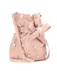 Jimmy Choo - Pink Eve Embellished Leather Bucket Bag - Lyst