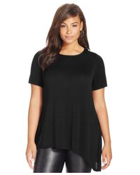 INC International Concepts | Black Plus Size Asymmetrical-hem Top | Lyst