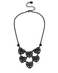 Betsey Johnson | Black Crystal Heart Linked Frontal Necklace | Lyst