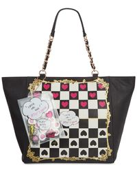 Betsey Johnson | Black Checkerboard Tote | Lyst