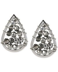 Kenneth Cole - Metallic Silver-tone Woven Black Bead Teardrop Stud Earrings - Lyst