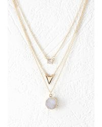 Forever 21 - Metallic Rhinestone Layered Chain Necklace - Lyst