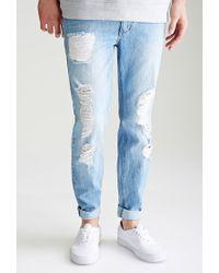 Forever 21 - Blue Distressed Medium Wash - Slim Fit Jeans for Men - Lyst