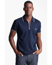 Ferragamo | Blue Zip Pique Trim Fit Polo for Men | Lyst