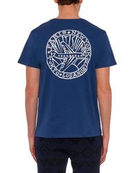 Maison Kitsuné - Blue Plane-Print Cotton T-Shirt for Men - Lyst