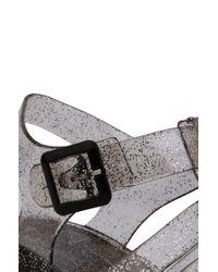 AKIRA - Gray Gladiator Thick Heel Jelly Smoke Glitter Sandals - Lyst