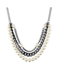 Givenchy - Black Twotone Faux Pearl and Chain Frontal Necklace - Lyst