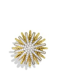 David Yurman - Yellow Starburst Ring With Diamonds In Gold - Lyst
