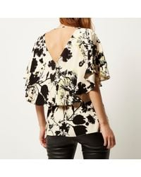 River Island | Pink Floral Print Frill Cape Top | Lyst