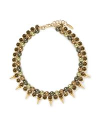 Joomi Lim - Green Spike Crystal Pearl Double Strand Necklace - Lyst