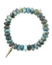 Sydney Evan | Blue 8mm Faceted Shade Moss Aqua Beaded Bracelet With 14k Gold/diamond Spike Charm | Lyst